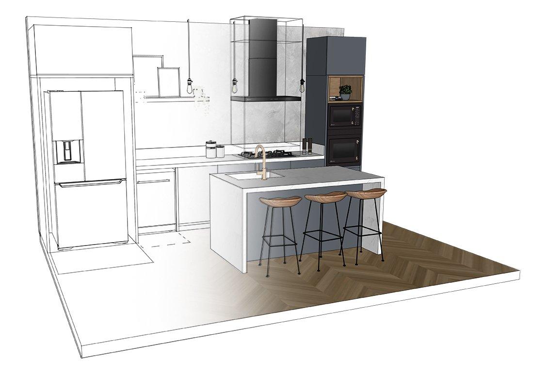 Cozinha com blocos SketchUp Electrolux