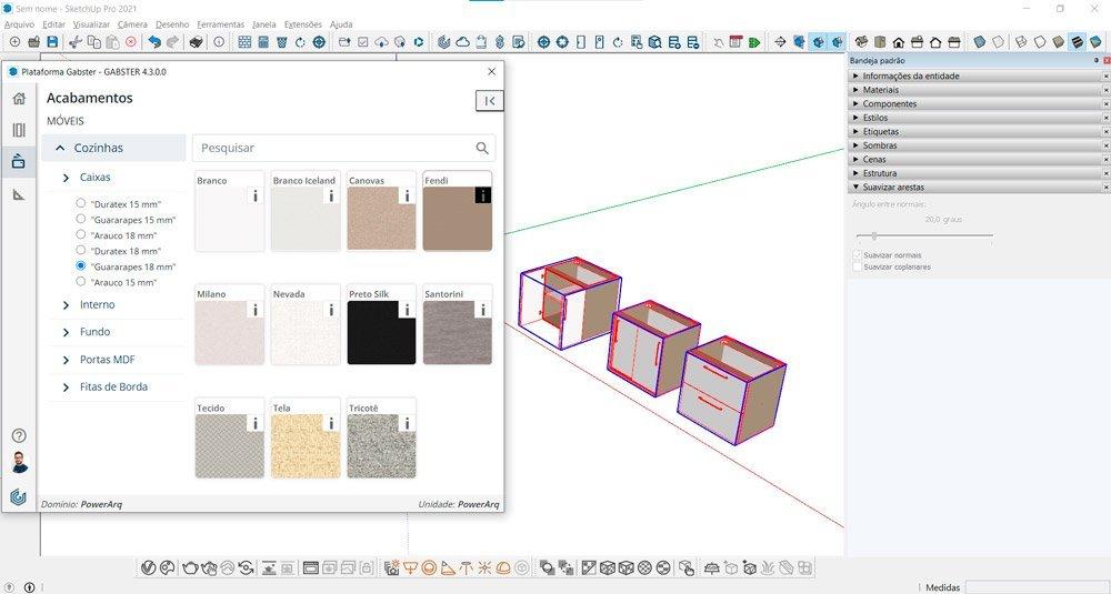 blocos sketchup marcenaria editando a fita de borda