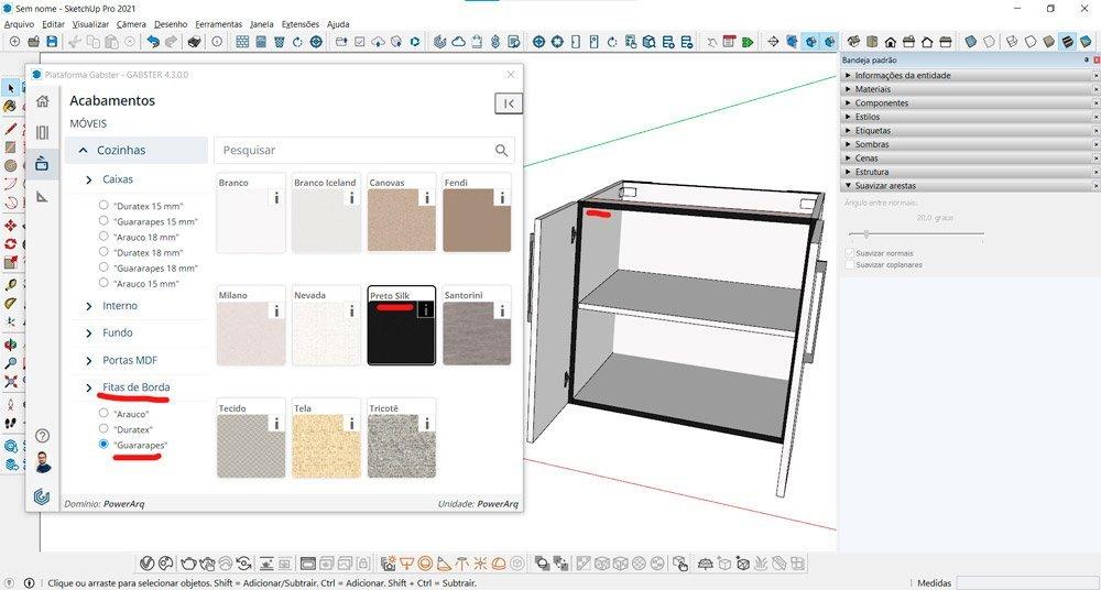 blocos sketchup marcenaria opções de acabamentos