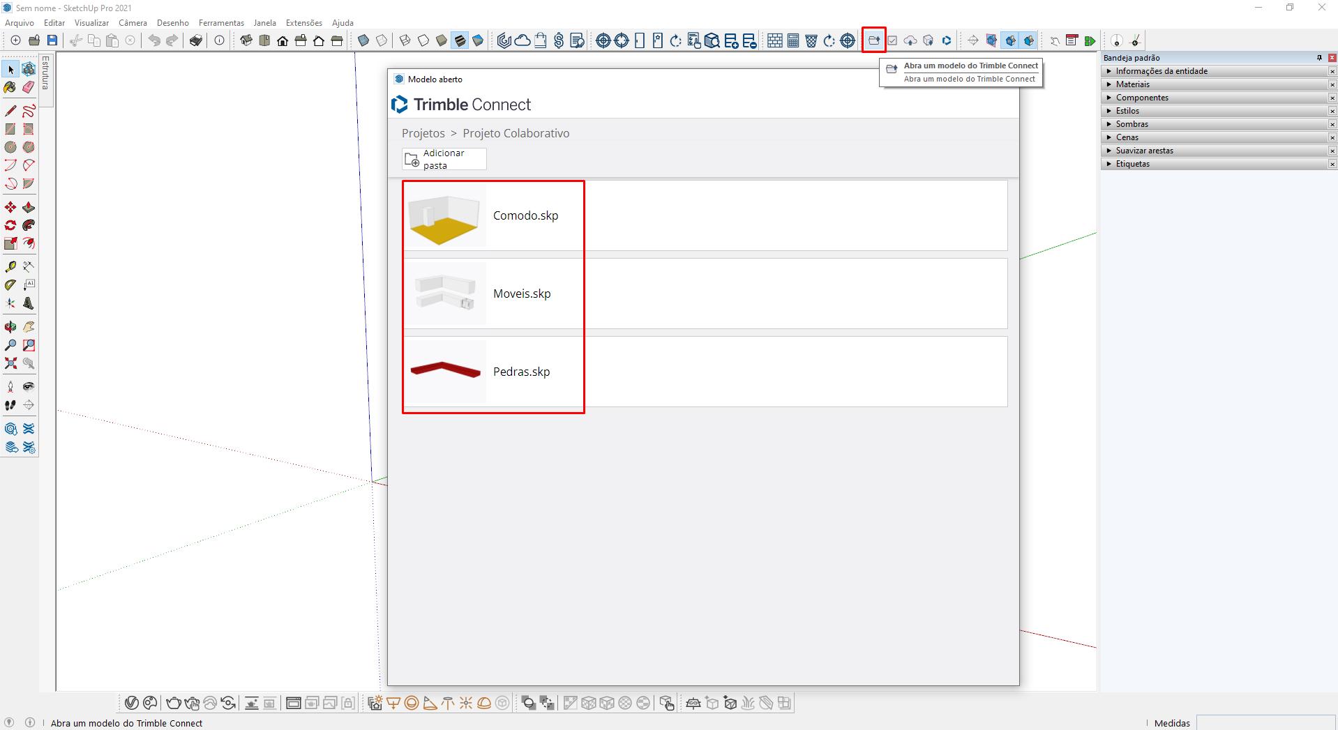 Como Trabalhar em Equipe no SketchUp - Abrir Um Modelo